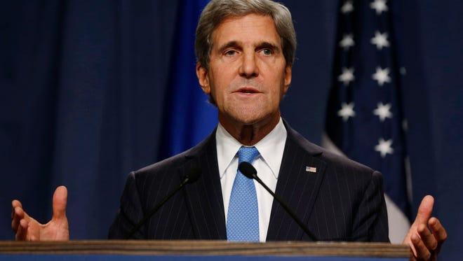 U.S. Secretary of State John Kerry speaks in Geneva on Sept. 12, 2013.