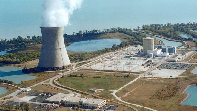 The Davis-Besse Nuclear Power Station on the shore of Lake Erie near Port Clinton, Ohio is shown in a company photo, date unknown.