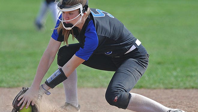 CVCA shortstop Lauren McNeil fields a ground ball hit by St. Vincent-St. Mary's Delanie Dadich in the top of the fifth inning Saturday.