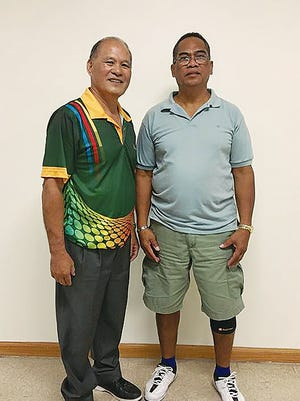 Buddy Saludo, left, and Bal Perez competed for the May Senior Bowler of the Month title on Sunday at Central Lanes Bowling Center in Tamuning. Saludo defeated Perez 231-182 in the championship match.