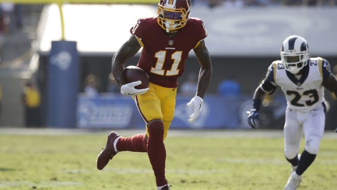 Washington Redskins' Terrelle Pryor carries the ball during an NFL football game against the Los Angeles Rams Sunday, Sept. 17, 2017, in Los Angeles. (AP Photo/Jae C. Hong) ORG XMIT: NYOTK
