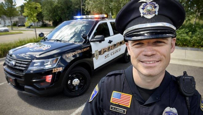 Armed with a new Ford Explorer SUV police cruiser, St. Cloud police officer Darin Vossen has been focused on DWI enforcement after the department received a grant in 2015. He was recognized Tuesday as the top DWI enforcer in the state, after arresting 206 drunk drivers in 2016.