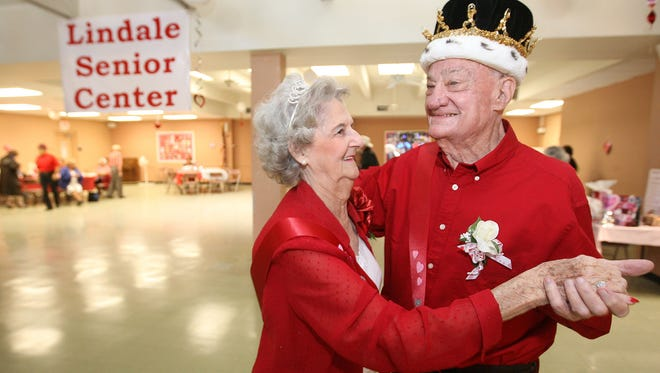 Pat Arringdale and Bill Dobbs dance the afternoon away at the Lindale Senior Center after being name king and queen of the center's Valentine's Day dance.