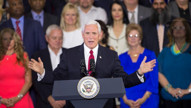 Mike Pence, Vice President and former Indiana Governor,  speaks to a crowd about President Trump's plan to overhaul taxes, Anderson, Friday, Sept. 22, 2017.