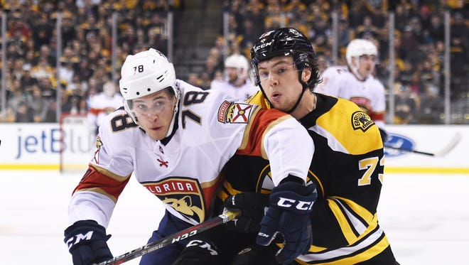 Florida Panthers forward Maxim Mamin (78) and Boston Bruins defenseman Charlie McAvoy (73) battle for position during the second period at TD Garden.