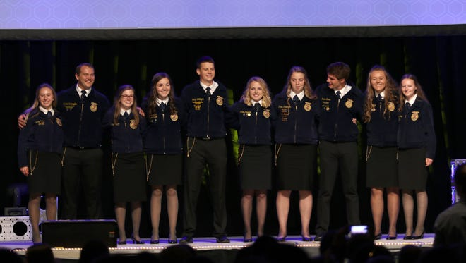 The Wisconsin State FFA 2018-19 officers were announced during the 89th State Convention in Madison on June 13. Pictured (from left) are Emily Kruse, Mitchell Schroepfer, Paige Nelson, Jillian Tyler, Collin Weltzien, Ashley Hagenow, Amber Patterson, Gaelan Combs, Alexis Kwak and Sarah Calaway.