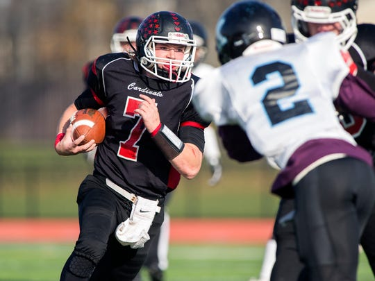 Newark Valley running back David Crow rushes the ball during the third quarter Saturday.
