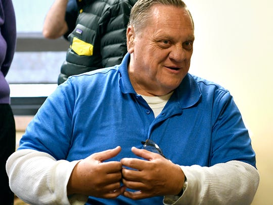 FILE - This Thursday, April 19, 2018 file photo shows Paul Jenkins, one of two men whose convictions were for a 1994 murder, at a Montana Innocence Project news conference in Missoula, Mont. Jenkins and co-defendant Freddie Joe Lawrence were convicted in the 1994 death of Donna Meagher, whose body was found west of Helena. Recent DNA tests on a rope found at the murder scene matched another man, a convicted killer. On Friday, June 1, 2018, District Judge Kathy Seeley of Helena dismissed the charges against Lawrence and Jenkins. The state is investigating David Wayne Nelson as a suspect in Meagher's death (Tom Bauer/The Missoulian via AP, File)