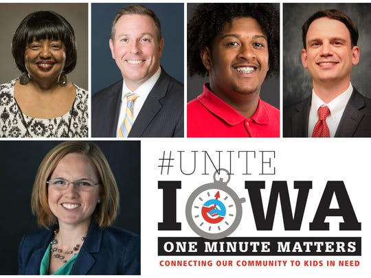 The #UniteIowa event will feature, from top left: Ruth Ann Gaines, a state representative and Iowa Teacher of the Year; Matt Smith, chief schools officer of Des Moines Public Schools; Michael Hardat, an Iowa State University student; and Ryan Wise, director of the Iowa Department of Education. Journalist Mackenzie Ryan, bottom left, will host.