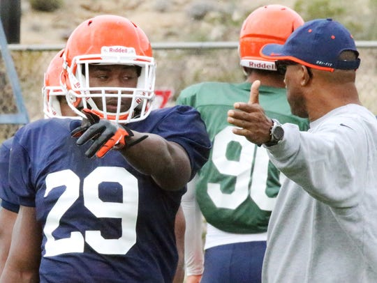 UTEP junior running back Aaron Jones, 29, runs drills