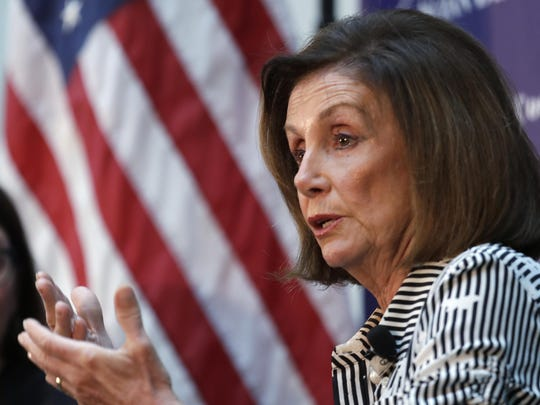 Speaker of the House Nancy Pelosi, D-Calif., talks about lowering the cost of prescription drug prices Tuesday, Oct. 8, 2019, at Harborview Medical Center in Seattle. (AP Photo/Elaine Thompson)