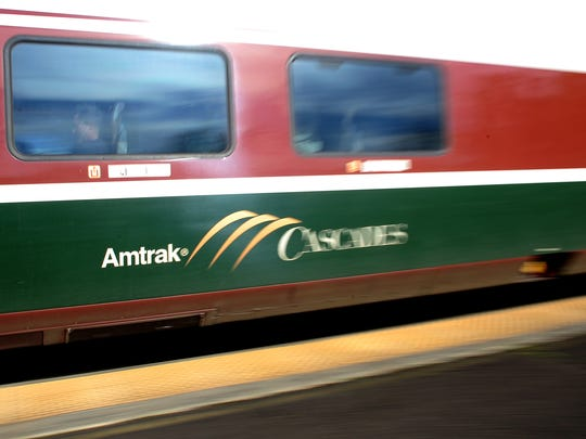 The Amtrak Cascades leaves the Salem station, on Sunday. There may not be enough money in the state budget to keep the train running between Eugene and Portland.