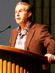 Detroit Red Wings TV broadcaster Ken Daniels shared his personal story regarding his son's death with Novi student-athletes and parents in this file photo. Daniels will speak later this month in Livonia.