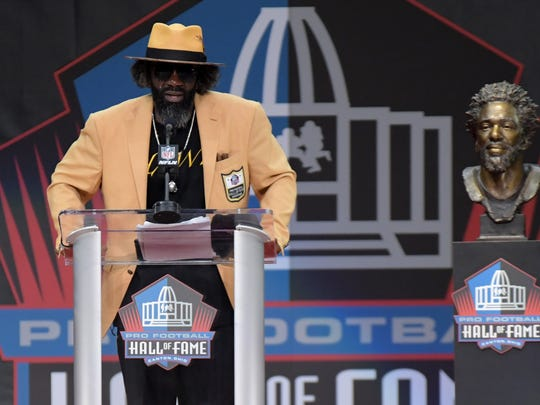 Aug 3, 2019; Canton, OH, USA; Ed Reed speaks during the Pro Football Hall of Fame Enshrinement at Tom Benson Hall of Fame Stadium. Mandatory Credit: Kirby Lee-USA TODAY Sports