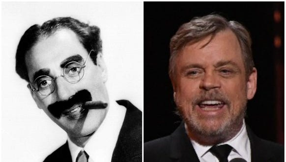"Mark Hamill, right, remembers being a starstruck kid upon meeting Julius Henry ""Groucho"" Marx, the comedian who died in 1977."