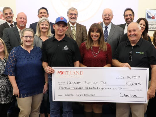 Four donors, including Portland Chamber of Commerce, presented checks to Gregory-Portland ISD to aid in needs related to Hurricane Harvey. These individual gifts total more than $100,000.
