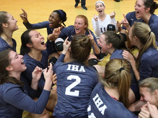 IHA celebrates its victory over River Dell in the Girls