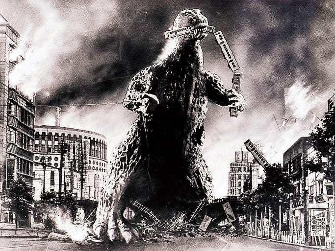 """A scene from the 1954 motion picture """"Godzilla."""" At a laboratory in Tokyo, Godzilla, including the 1954 black-and-white original, is stomping back with a digital makeover that delivers four times the image quality of high definition."""