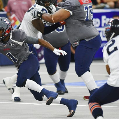 The Sioux Falls Storm's Korey Williams (1) rushes with the ball during a game against the Colorado Crush Saturday, June 4, 2016, at the Denny Sanford Premier Center in Sioux Falls.