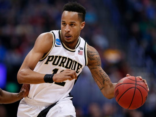 Purdue Boilermakers forward Vince Edwards (12) during Purdue vs Arkansas Little Rock in the first round of the 2016 NCAA Tournament at Pepsi Center.