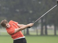 Central York's Joe Parrini tees off. Golfers compete in the District 3-AAA boys' individual golf championships at Briarwood Golf Club East in Jackson Township, Saturday, October 8, 2016.