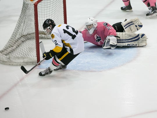 Pittsford goalie William Hernes denies McQuaid's  Brennan Brown in Saturday's 4-2 win during the Panthers' annual Pink the Rink game at RIT's Gene Polisseni Center.