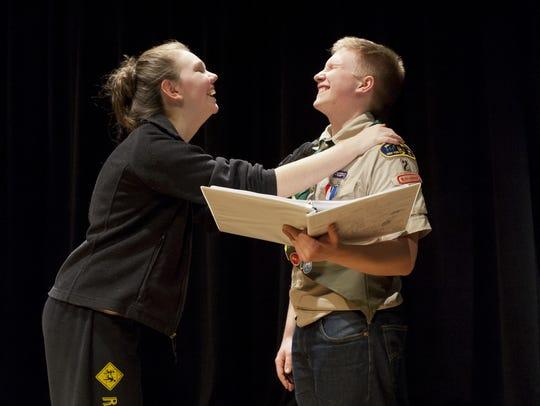 Keara Byron and Brendan Coyle rehearse a scene from