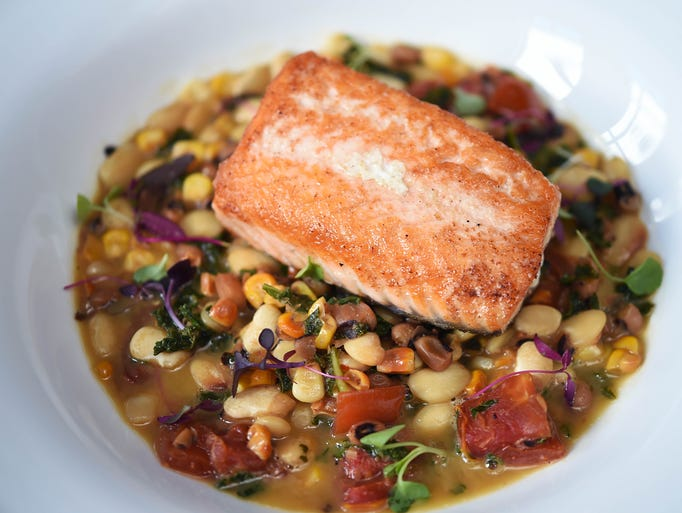 Saffire Restaurant and Bar's pan-roasted salmon on