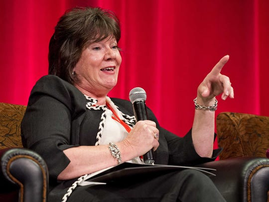 """Mary Badham, who portrayed Jean Louise """"Scout"""" Finch in the 1962 movie """"To Kill a Mockingbird,"""" speaks about the film at a 2012 event."""
