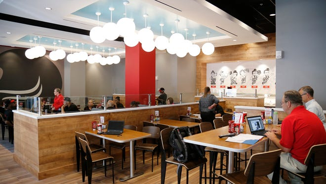 The main dining area at the new Frisch's Big Boy location at Carew Tower in downtown Cincinnati on Monday, June 4, 2018.