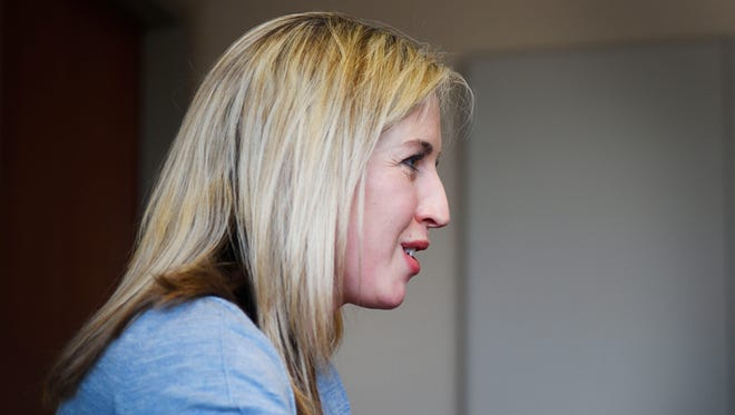 Jolene Loetscher speaks with the Argus Leader Tuesday, April 17, at the newsroom in Sioux Falls.
