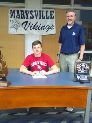 Dalton Hollandsworth will be attending Saginaw Valley State University to run track. He made his decision official with Marysville track coach Steve Rogers.