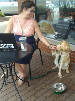 Amber DeLind and her dog, Coney, share a moment outside Starbucks in downtown Farmington. DeLind, the engagement strategy director for The Center for Michigan and Bridge Magazine, placed a water bowl and a chew toy on the ground for Coney, while she worked on her laptop. His leash was secured to her chair.