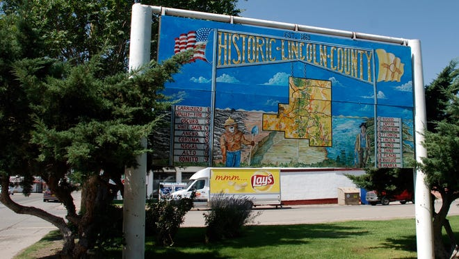 Historic Lincoln County was established in 1869 at Lincoln, N.M. This sign is in Carrizozo, today's county seat. In 1911 residents of Lincoln disliked the decision to move county records to the growing town of Carrizozo.