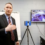 Sgt. James Harrison, director of the Westchester County Public Safety Crime Laboratory, talks about the new Faro 3D laser scanner used for investigations at the renovated Westchester County Police Academy, Jan. 18, 2016 in Valhalla. The $9.3 million upgrade included the relocation of the Forensic Investigation Unit's crime lab from police headquarters in Hawthorne. The classrooms and training facilities in which departments from the entire county use were also updated.