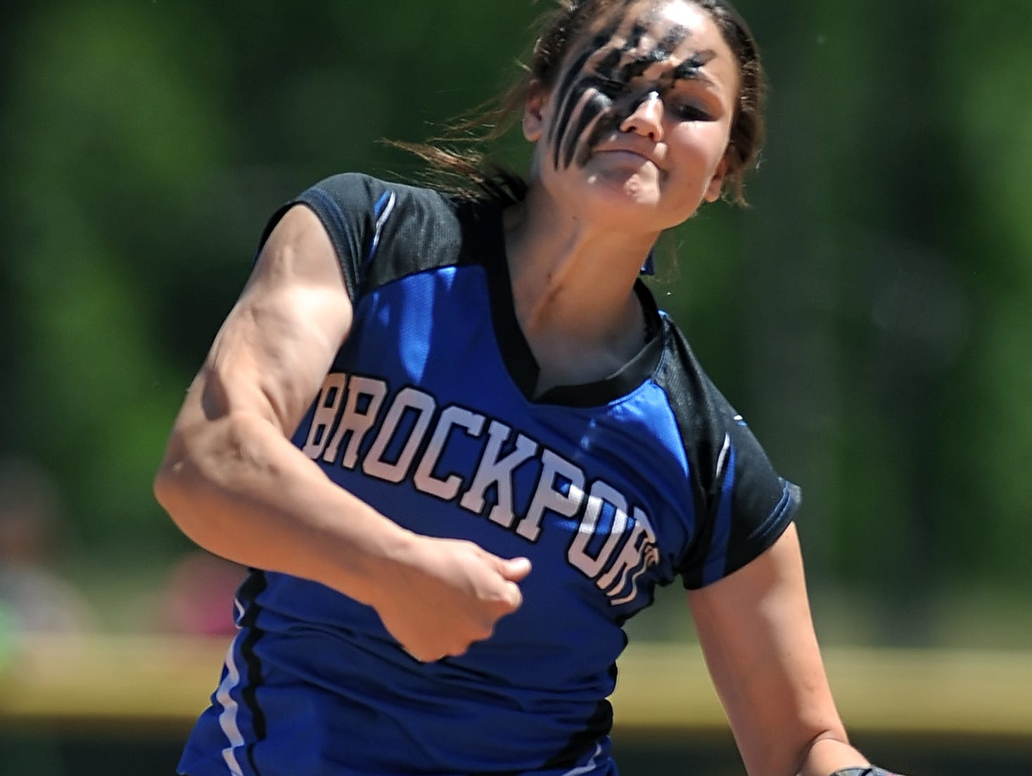 Brockport's Julia DiMartino pitches in the NYSPHSAA Class AA Western Regional on June 4, 2013.