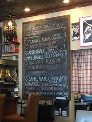 The tap menu is featured on a blackboard at Rock Da