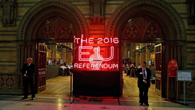The Manchester Town Hall is the setting for the national count in the EU referendum, in Manchester, Britain, June 23. 2016.