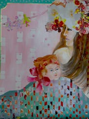 """Virginia Carroll, """"Madonna,"""" painting with cut pieces"""