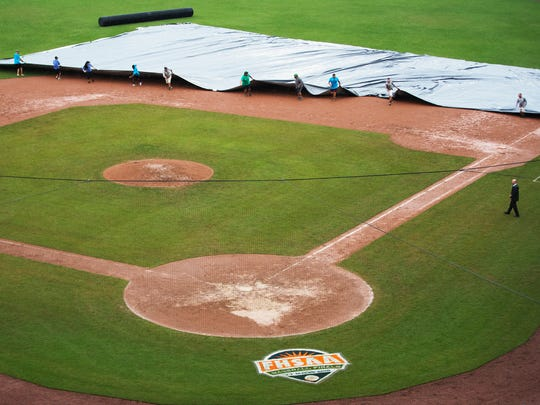 The Florida High School Athletic Association has suspended all state baseball finals games on Saturday at Hammond Stadium in Fort Myers due to rain and field conditions. Games are scheduled to resume at 10 a.m. Monday.