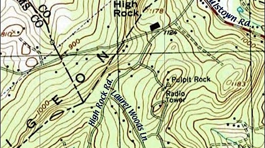 Topographic Map of Pigeon Hills Area in York County, PA (Annotated by S. H. Smith, 2016)