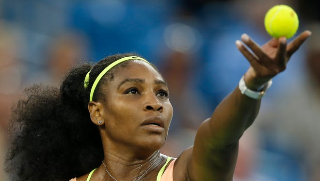 Serena Williams serves to Elina Svitolina, of Ukraine, in the second set during their semifinal match Aug. 22, 2015, at the Lindner Family Tennis Center in Mason, Ohio.