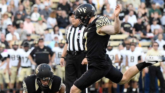 Southside graduate Mike Weaver kicks a 37-yard field goal against Army in 2016.