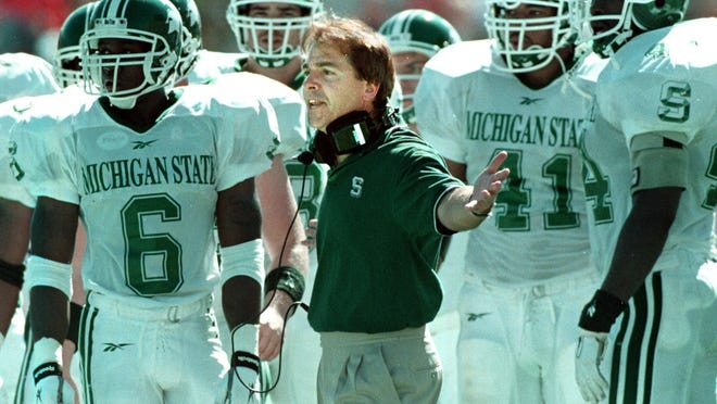 MSU head coach Nick Saban disagrees with a call by the officials during the Indiana game in 1997. Saban was coach from 1995-1999.