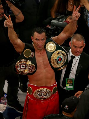 Wladimir Klitschko of the Ukraine celebrates his win over Bryant Jennings after their IBF/WBO/WBA World Heavyweight Championship title fight at Madison Square Garden on April 25, 2015 in New York City.
