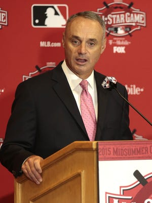 Major League Baseball commissioner Rob Manfred addresses the media.