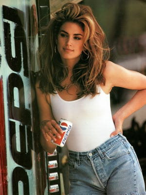 Actress-model Cindy Crawford is seen in her 1992 iconic Super Bowl Pepsi commercial. Crawford returns for another Pepsi commercial which will premiere during Super Bowl LII on Feb. 4. The new ad includes her son, Presley Walker Gerber, as well as footage from Michael Jackson's memorable Pepsi commercial.