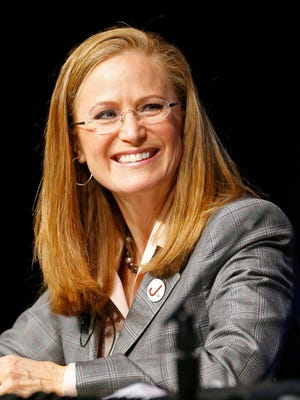 Christine Jones  takes part in a Arizona Gubernatorial Candidates Forum Tuesday, July 1,, 2014 at Central High School in Phoenix, Ariz.  Topics included education, economy, immigration & minimum wage.