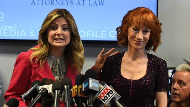 Comedian Kathy Griffin is introduced during a news conference Friday by her attorney, Lisa Bloom (L).