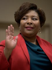 Arica Watkins - Smith is sworn in during the Montgomery